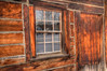 Old Log Home Window Reflection