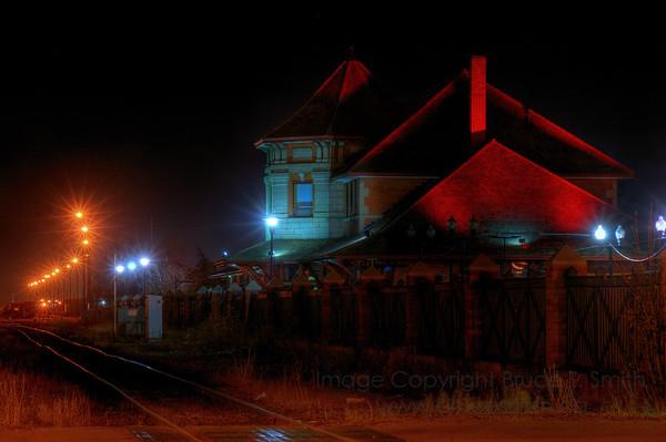 Old Edmonton Train Station at night
