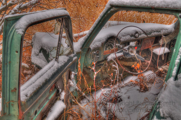 Old Ford Customline Sedan in the Snow
