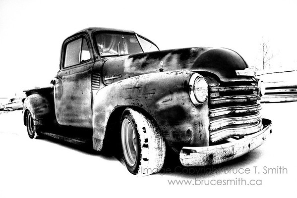 1951 Chevrolet truck in hi-contrast black and white