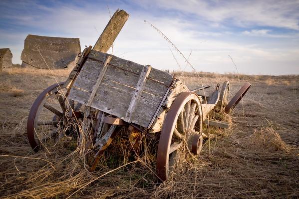 Old abandoned farm wagon