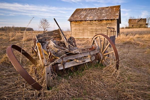 Abandoned farm and wagon