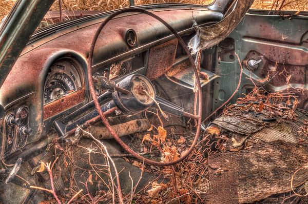 The interior of a Ford Customline, rusting away in a field.