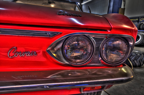 Detail of a Corvair front end.