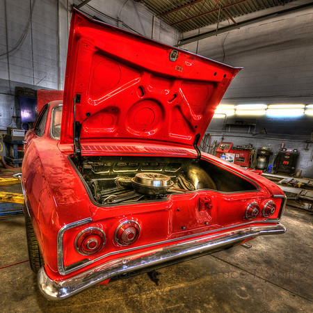 Beautiful Red Corvair Engine Rear End