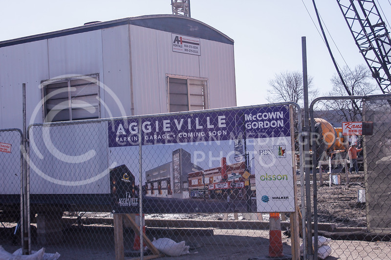 Ground broke on the new Aggieville parking garage in December 2020 and construction is ongoing. The project is expected to be complete and open for parking in February 2022. (Kaylie McLaughlin | Collegian Media Group)