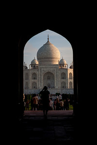 UNESCO world heritage site, the Taj Mahal in Agra, India photographed through the entrance.