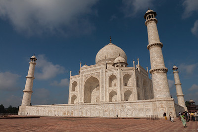 Taj Mahal shot in the beautiful early morning light under the blue skies from a different perspective