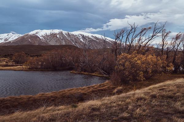 Pond on high country near Lake Tekapo looking towards Mount Edward.