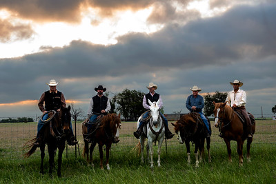 Professional Ranch and Agriculture Photography, Cowboys at sunrise in Schwertner, Texas