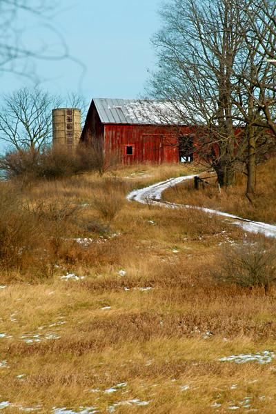 Barn on a hill.
