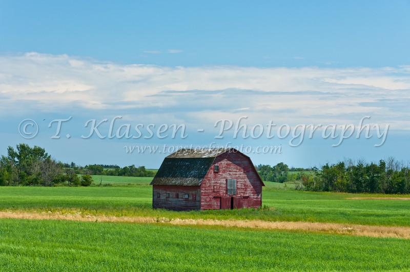 A small red barn near Smuts, Saskatchewan, Canada.