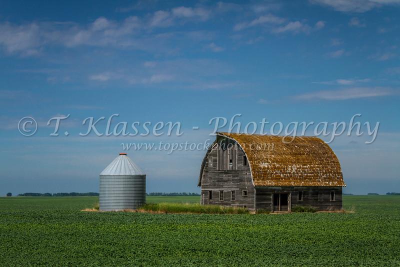 An old barn on a priaire field near Langdon, North Dakota, USA.