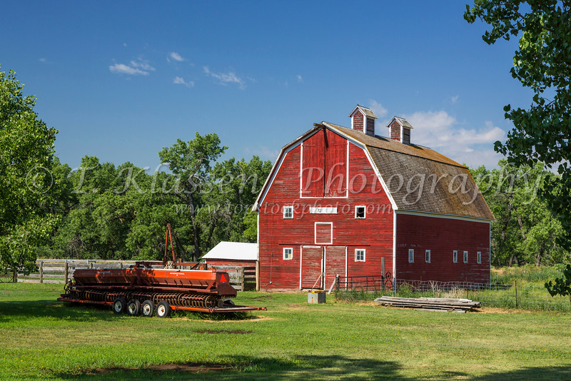 A red barn on a farm near Zurich, Montana, USA.