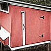 Red and white chicken coop with a grunge, antiqued effect. Would look stunning on metallic.