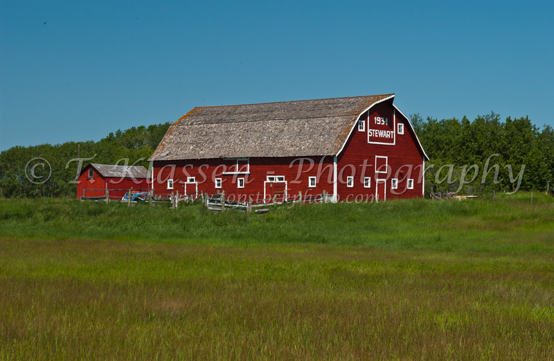 A red barn on the Canadian prairies.