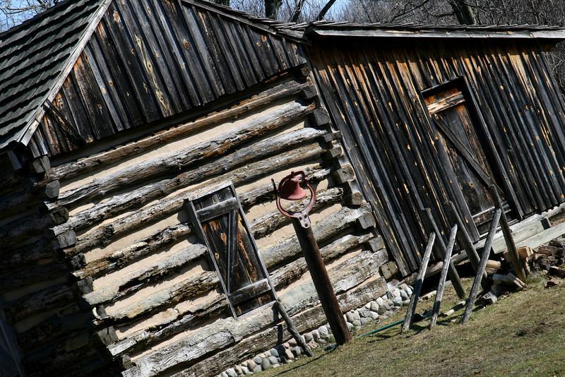 Century-old log cabin on a farmstead.