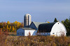A dairy farm with barns and silo near Minocqua, Wisconsin, USA.