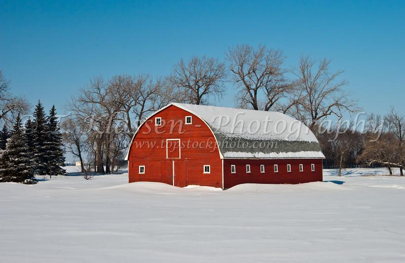 A red barn in winter near Myrtle, Manitoba, Canada.