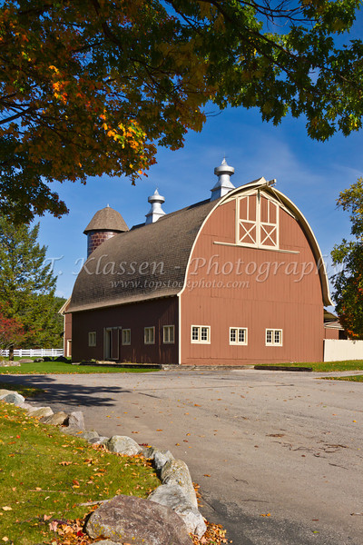 The Ayer's Rice Insurance farm with office and barn along Highway 119 near Harbor Springs, Michigan, USA.