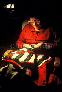 Mom quilting, Truman, MN.