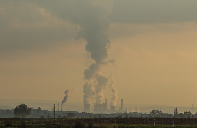 Lignite-fired power plant Weisweiler and sugar factory Jülich as seen from the village of Titz.