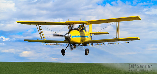 Crop Dusting - Aerial applicator spraying a field with an Ag Cat!