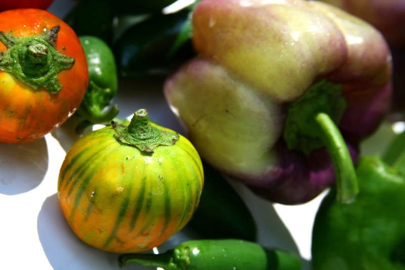 An assortment of produce: peppers, tomatillos, more!