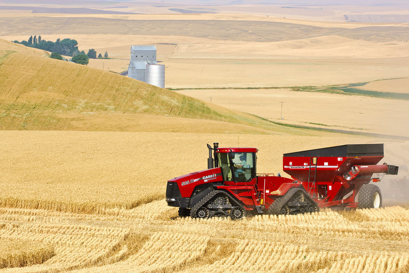 Harvesting grain in Dayton, Washington
