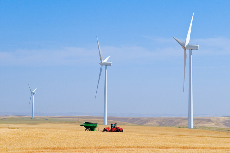 Windmills among the wheat fields in Eastern Washington with a tractor pulling a loaded grain cart