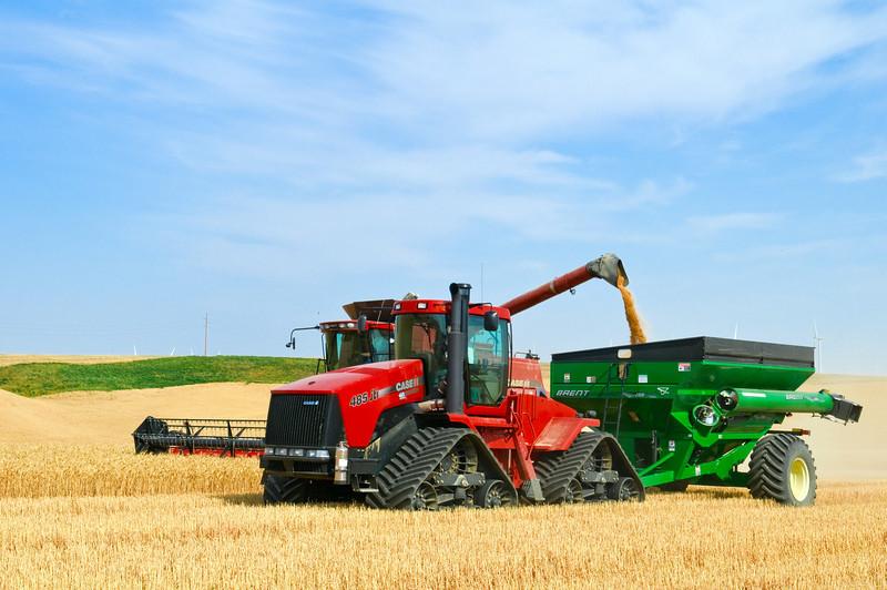 Harvesting grain in Dayton, Washington