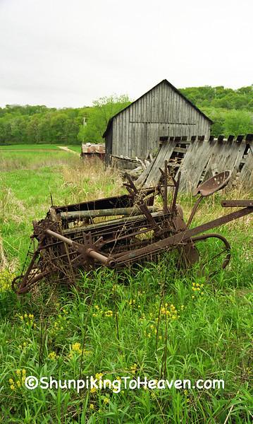 Old Grain Binder and Straw Shed, Herman Ringelstetter Farm, Wilson Creek, Sauk County, Wisconsin