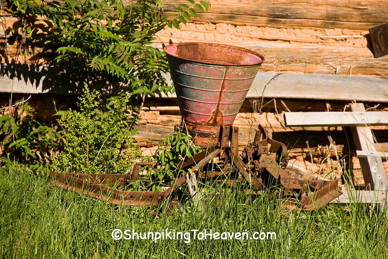 Fertilizer Distributor and Listing Plow by Log Tobacco Barn, Patrick County, Virginia