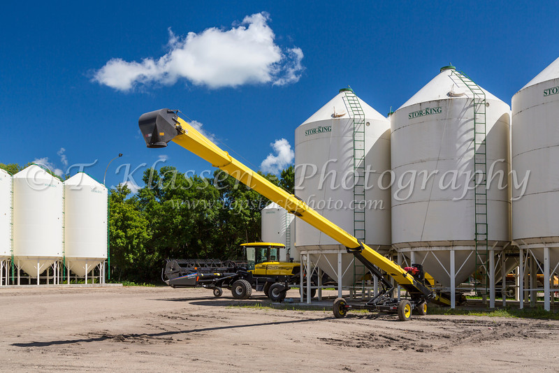 Grain bins and yellow farm equipment on the Froese Enterprises farm near Winkler, Manitoba, Canada.
