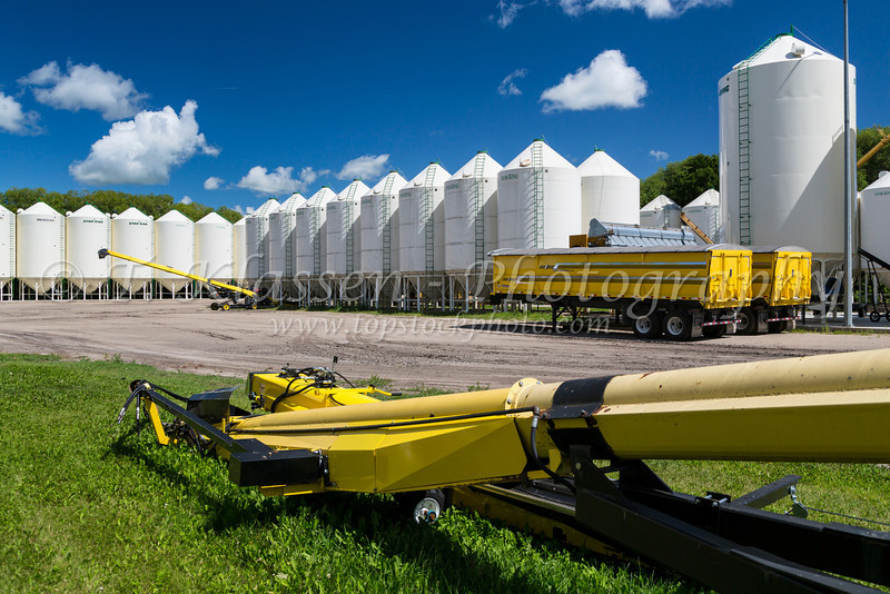 Grain bins and yellow grain truck on the Froese Enterprises farm near Winkler, Manitoba, Canada.
