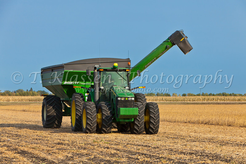 A grain cart and the soybean harvest on the Froese farm near Winkler, Manitoba, Canada.