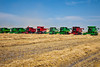 The World Harvest for Kids event with 200 combines near Winkler, Manitoba, Canada.