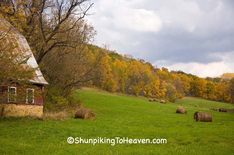 Autumn Farm Scene with Hay Rolls in the Field, Richland County, Wisconsin