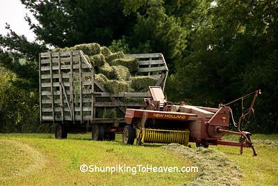 New Holland Baler and Wagon of Hay Bales, Sauk County, Wisconsin