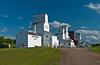Restored prairie grain elevators at Inglis, Manitoba, Canada.