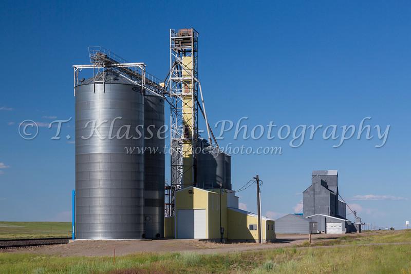 Grain elevators at Meriwether, Montana, USA.