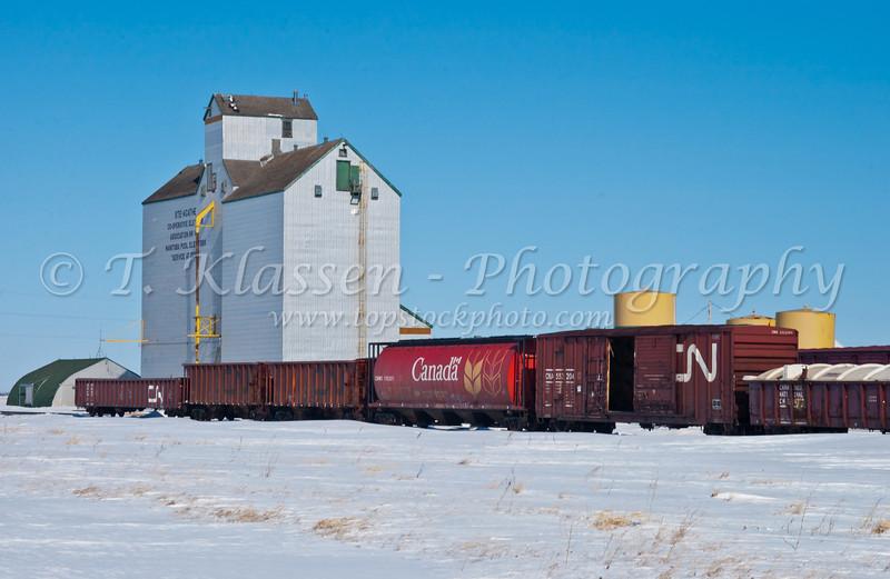 The St. Agathe Co-operative elevator with train boxcars in winter, Manitoba, Canada.