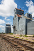 Old abandoned grain elevators at Knox, North Dakota, USA.