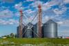 Inland grain storage facilities near Gildford, Montana, USA.