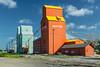 Grain elevators at Nanton, Alberta, Canada.