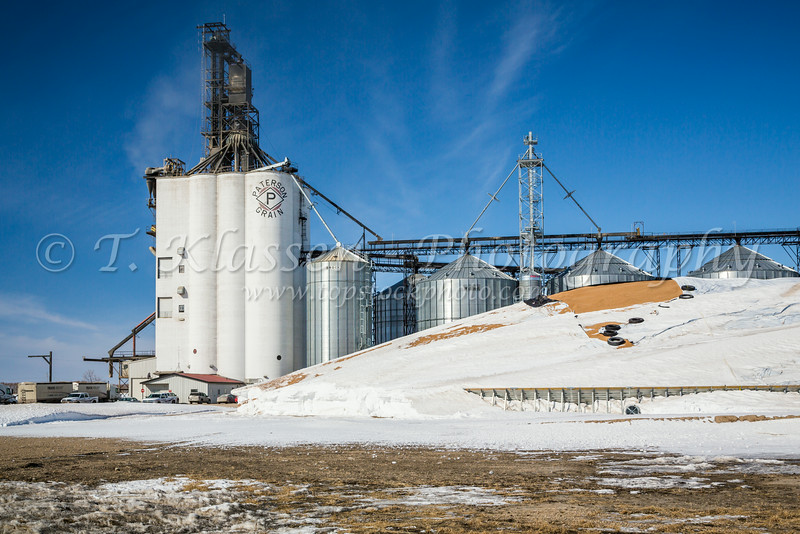 The Paterson Grain Company Terminal and a large pile of grain under a protective tarp at Morris, Manitoba, Canada.
