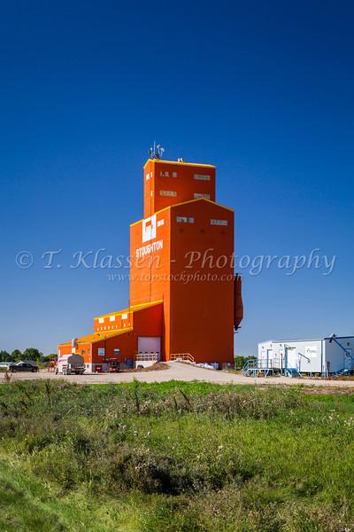 An inland grain handling terminal at Stoughton, Saskatchewan, Canada.