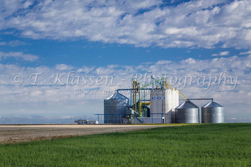 An inland grain handling facility near Rudyard, Montana, USA.