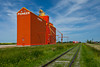Grain elevators and railroad tracks at Davidson, Saskatchewan, Canada.
