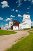Restored prairie grain elevators at Inglis, Manitoba, Canada.